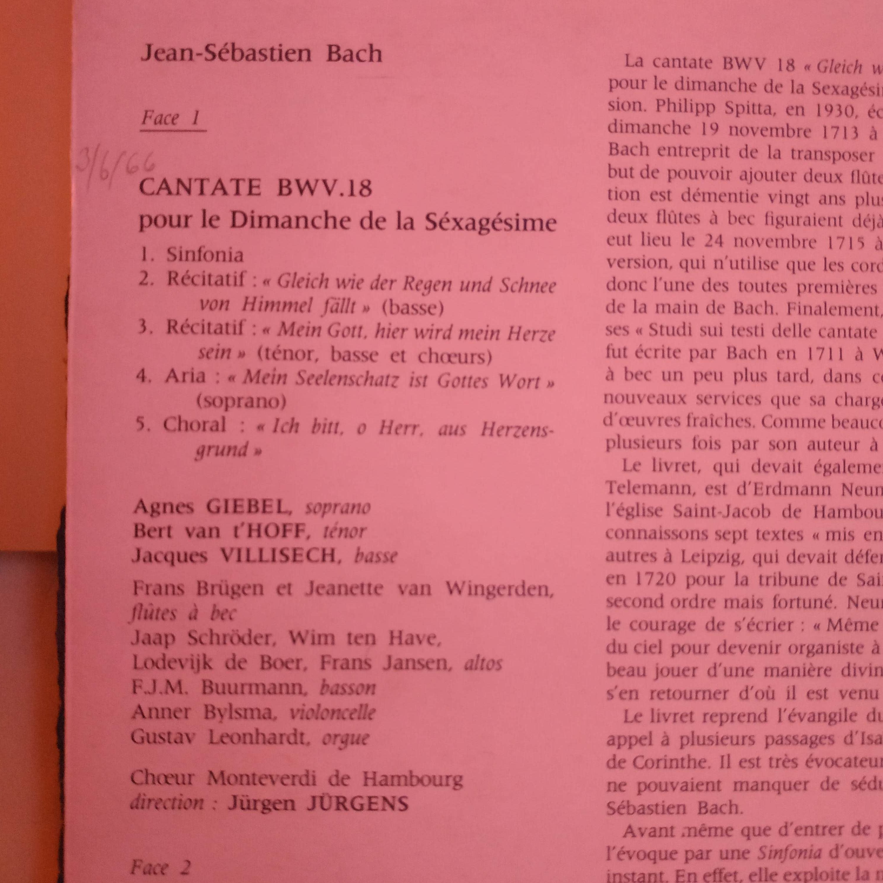 Cantata BWV 18 - Details & Discography Part 1: Complete